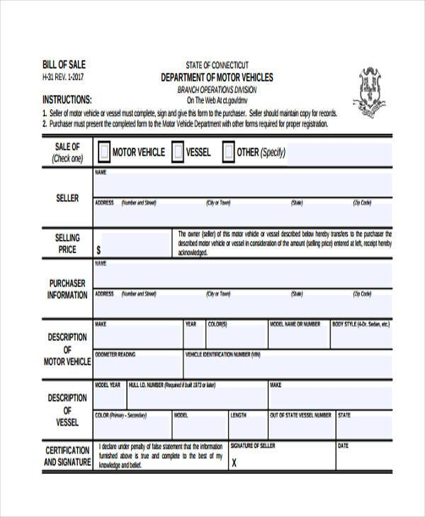 motor vehicle bill of sale form1