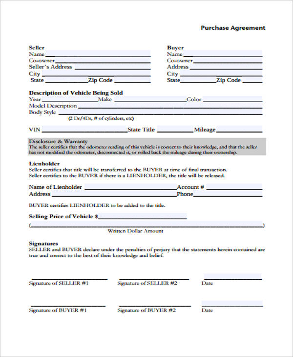 motor vehicle purchase agreement form