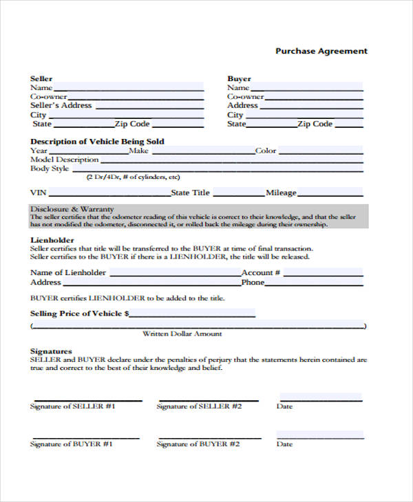 Vehicle Purchase Agreement Form Samples  Free Sample Example