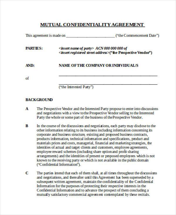 Agreement Forms In Word