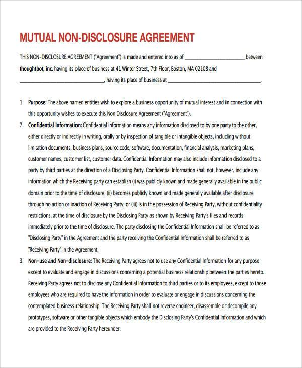 Mutual Non Disclosure Agreement Form