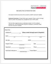 new employee authorization form