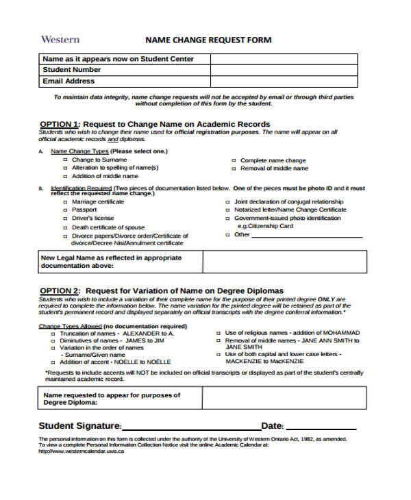 name change request form
