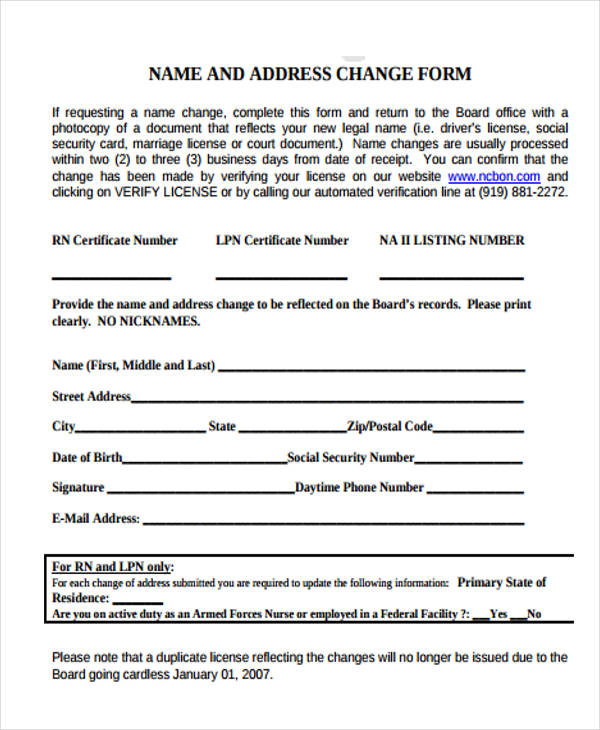 Name And Address Change Form  Address Change Form Template
