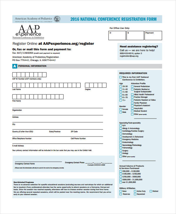 national conference registration form example