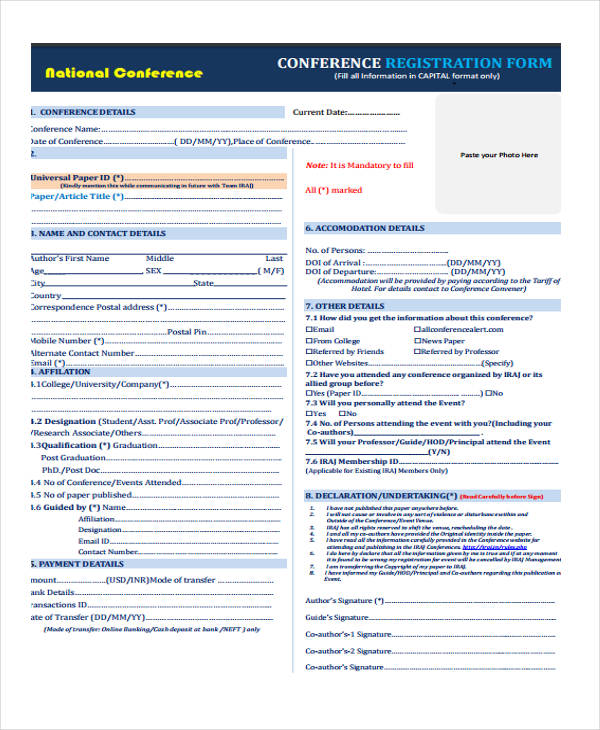national conference registration form in pdf