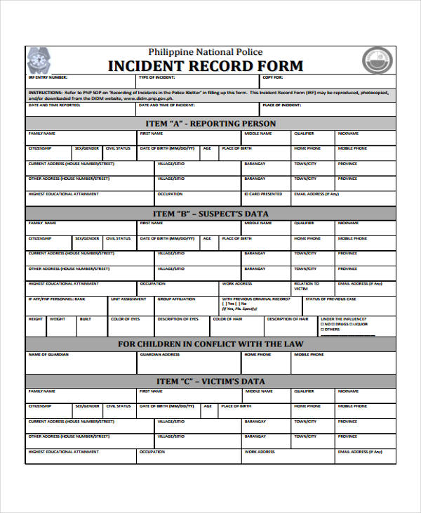 police incident report template - carlosdelarosavidal.tk