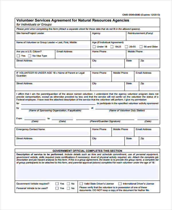 natural resources volunteer services agreement