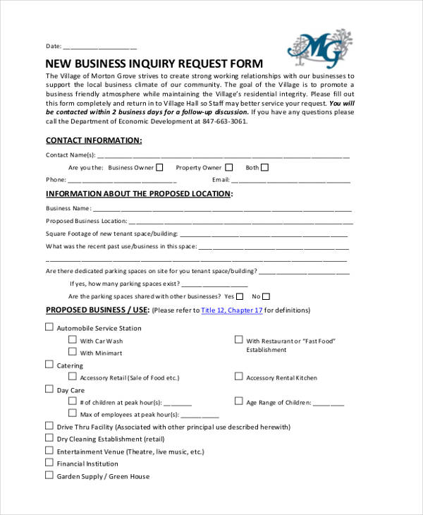 new business request form