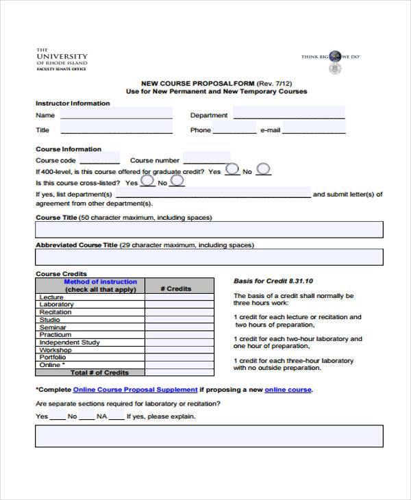 new course proposal form sample