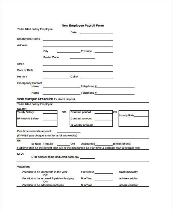 new employee payroll form