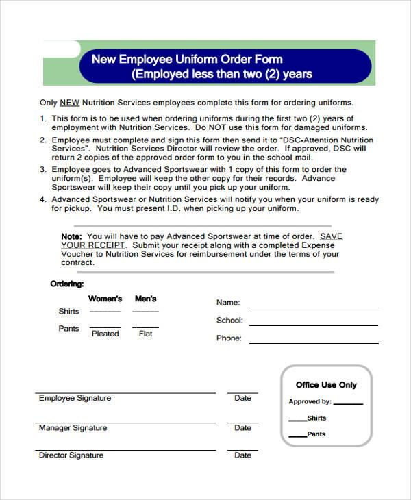 new employee work uniform order form