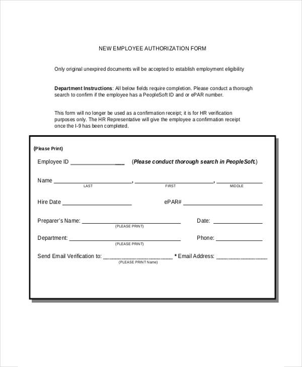 new employment authorization form