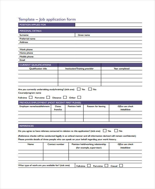Application forms format new job application form thecheapjerseys Images