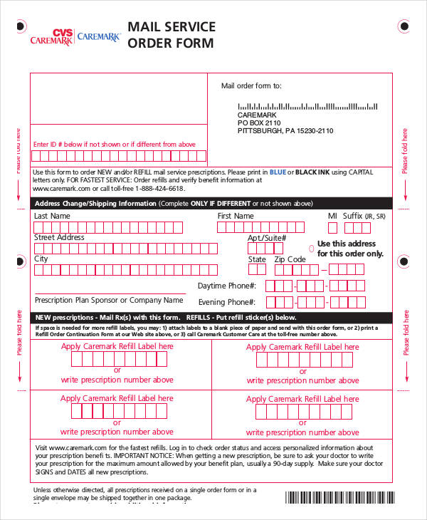 new mail service order form