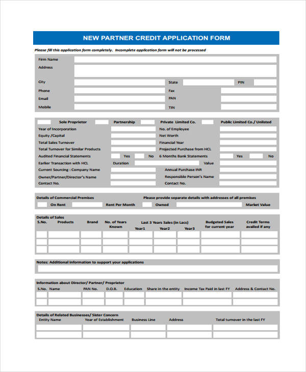 new partner credit application form