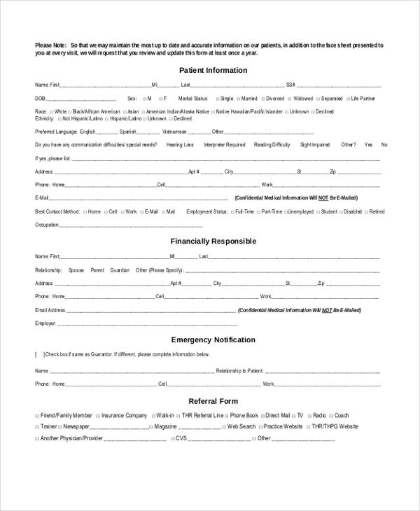 new patient emergency contact form