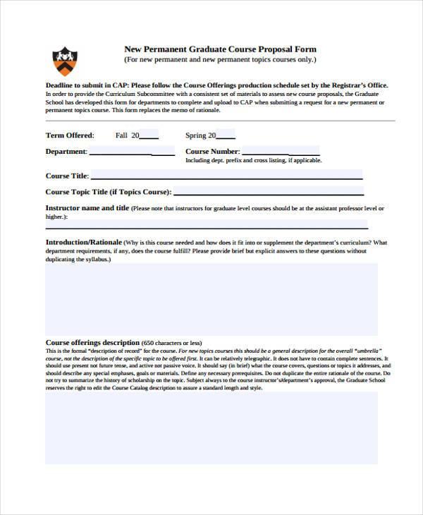 new permanent graduate course proposal form