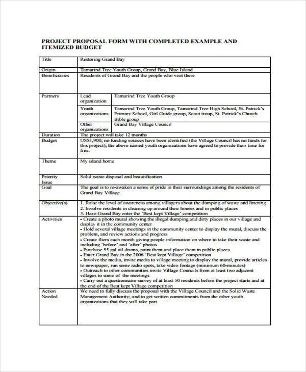 Project Proposal Form Samples  Free Sample Example Format Download