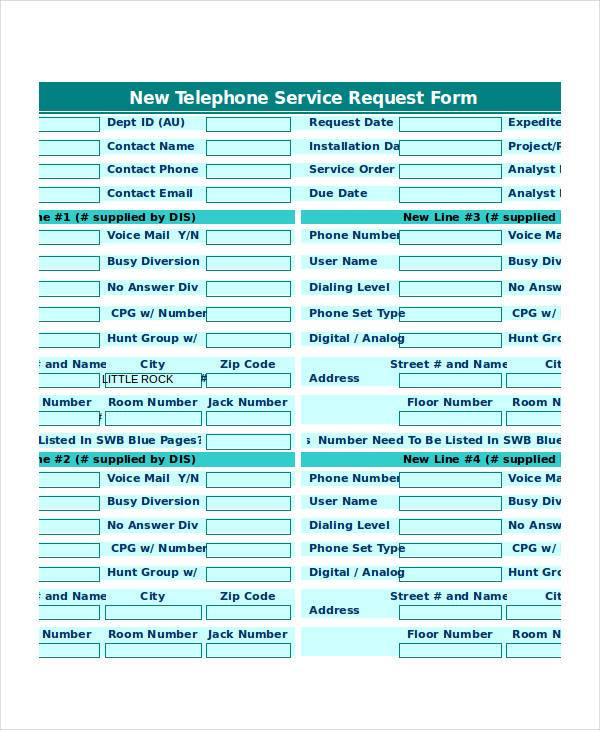 new telephone service request form