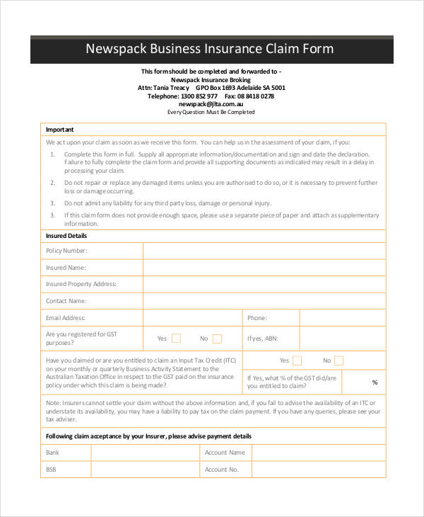 news pack business insurance form