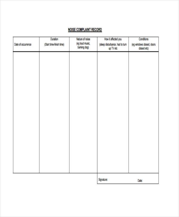noise complaint record form