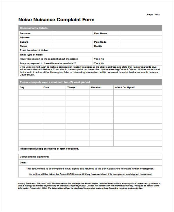 noise nuisance complaint form