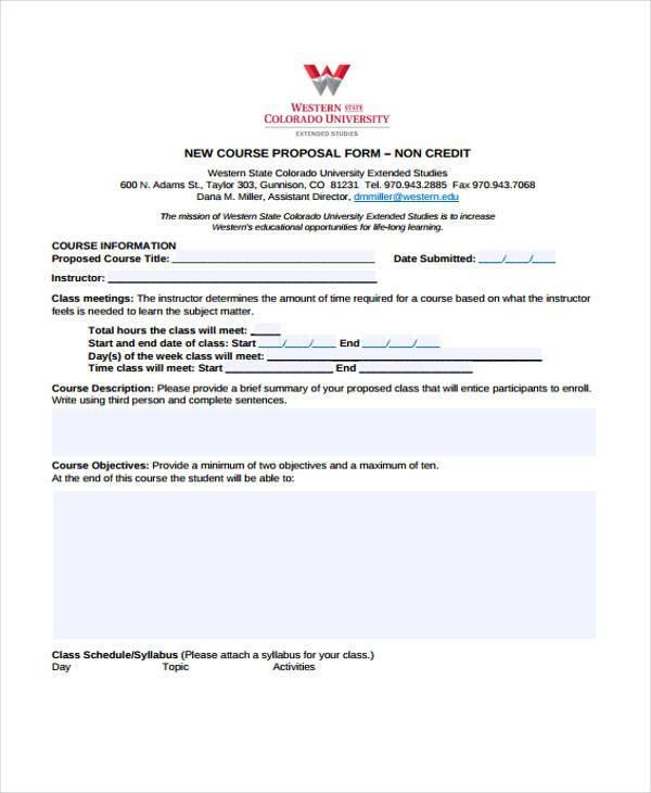 non credit course proposal form