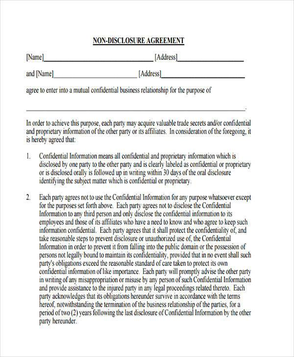 non disclosure agreement form pdf