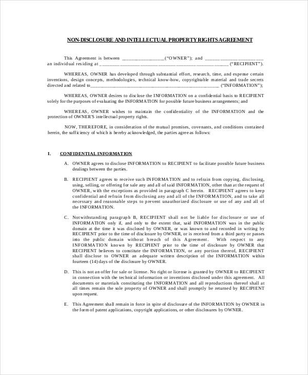 non disclousure property agreement form