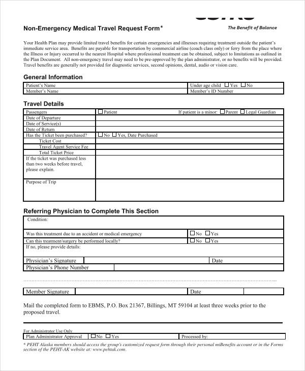 non emergency medical travel request form