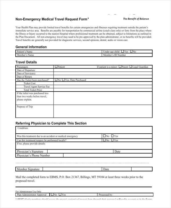 non emergency medical travel request form1