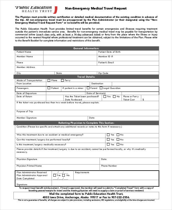 non emergency travel request form