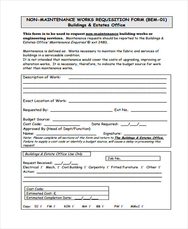 85  requisition form in pdf
