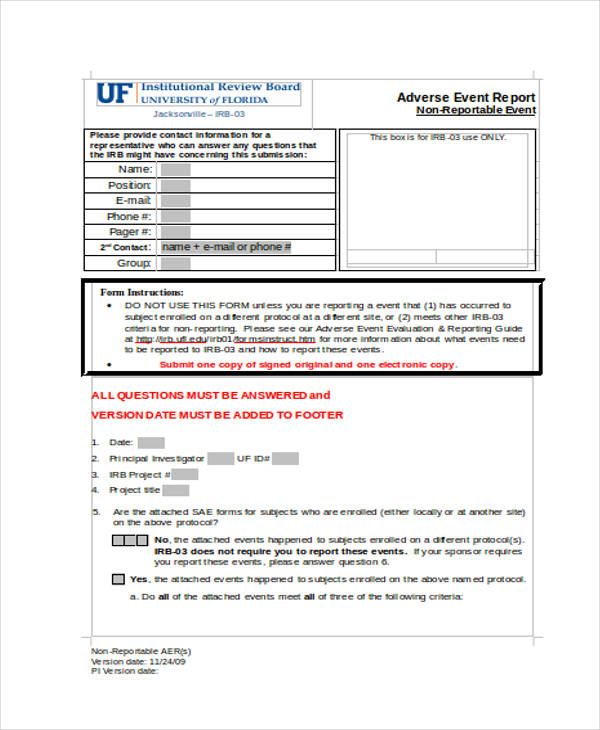 non reportable adverse event form