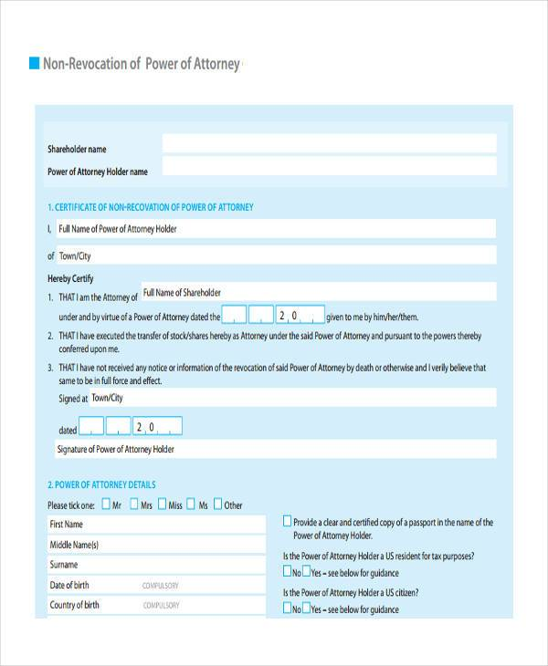 non revocation of power of attorney form