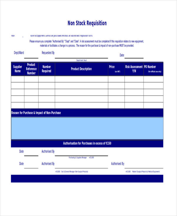 non stock requisition form1