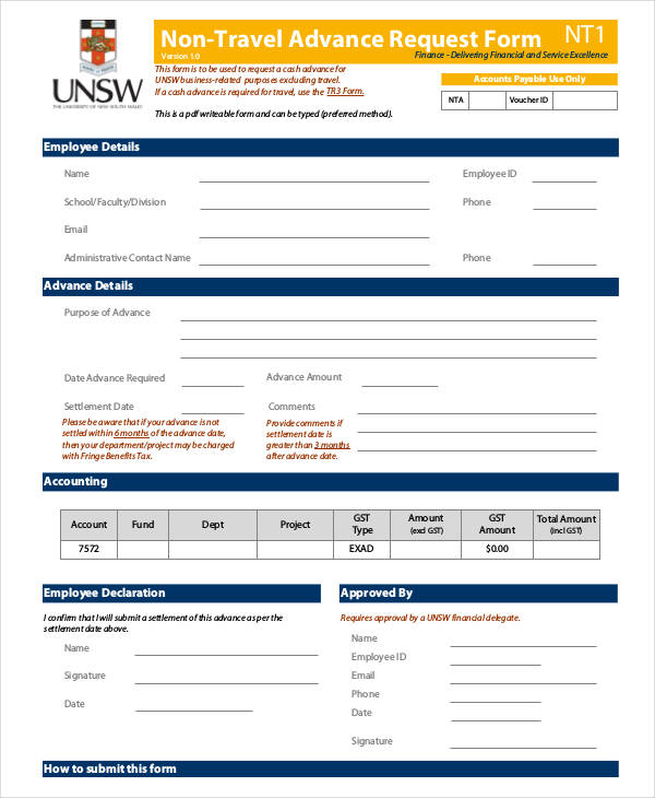 non travel advance request form