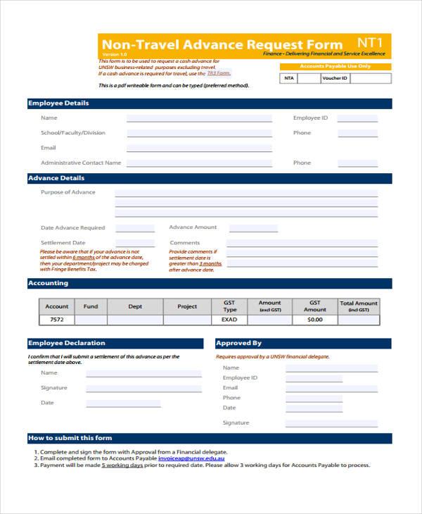 non travel advance request form2