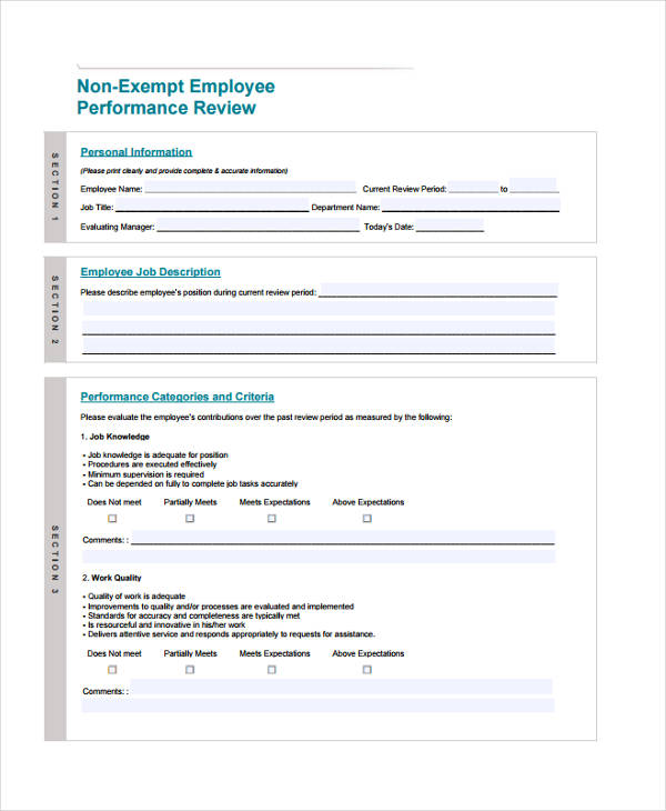 non exempt employee performance evaluation form