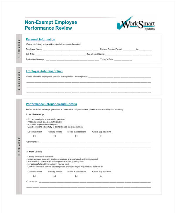 non exempt employee performance evaluation form2
