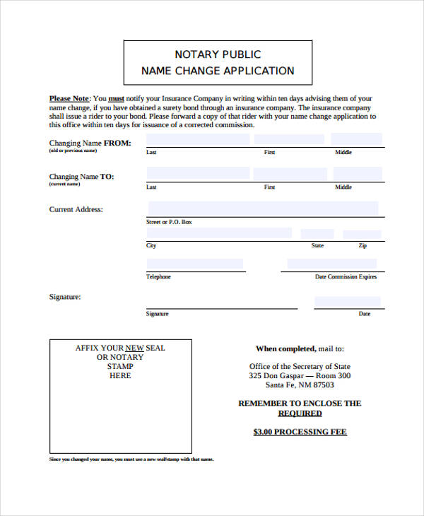 notary name change form