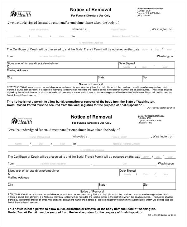 notice of removal form in pdf