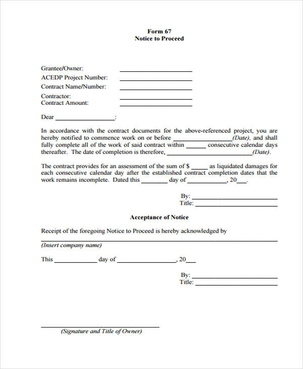 notice to proceed form grantee