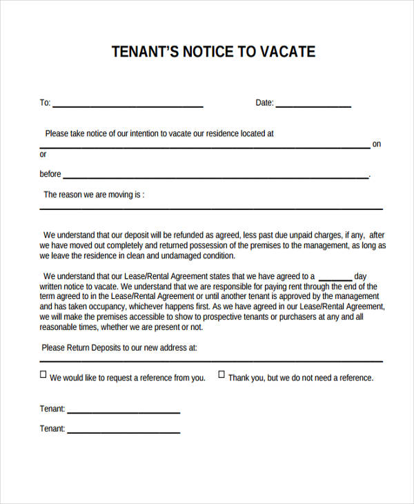 33 sample notice forms notice to vacate to tenant thecheapjerseys Image collections