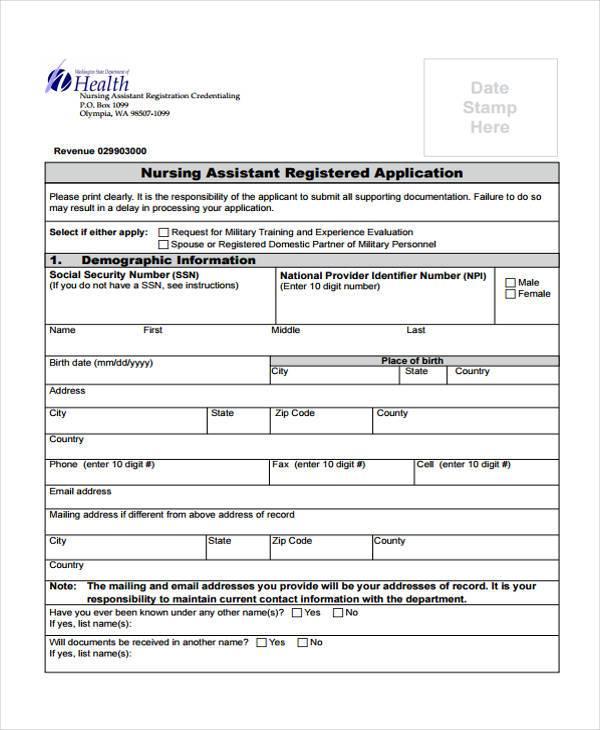 nursing assistant registration form