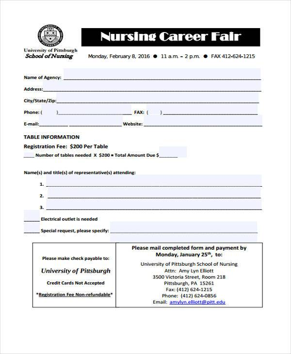 nursing carrier fair registration form