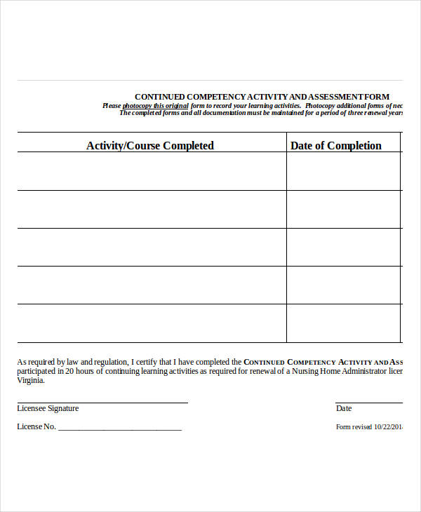 nursing home assessment form in doc