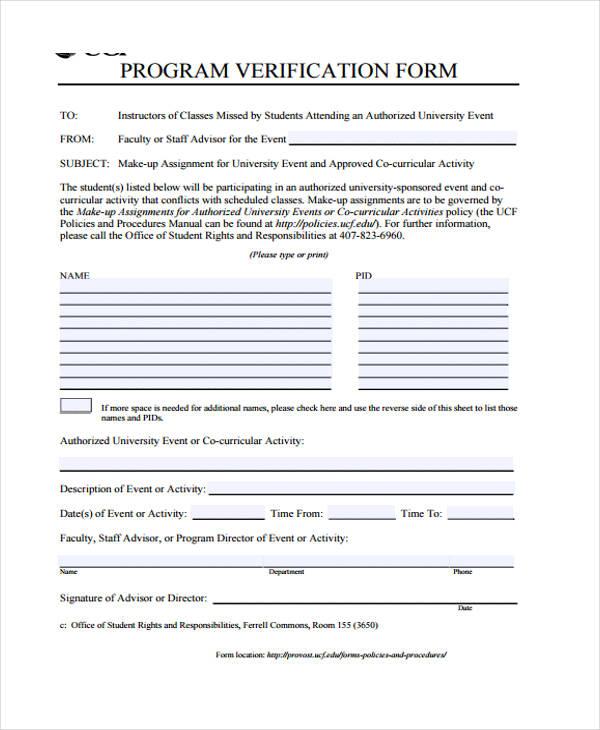 nursing program verification form