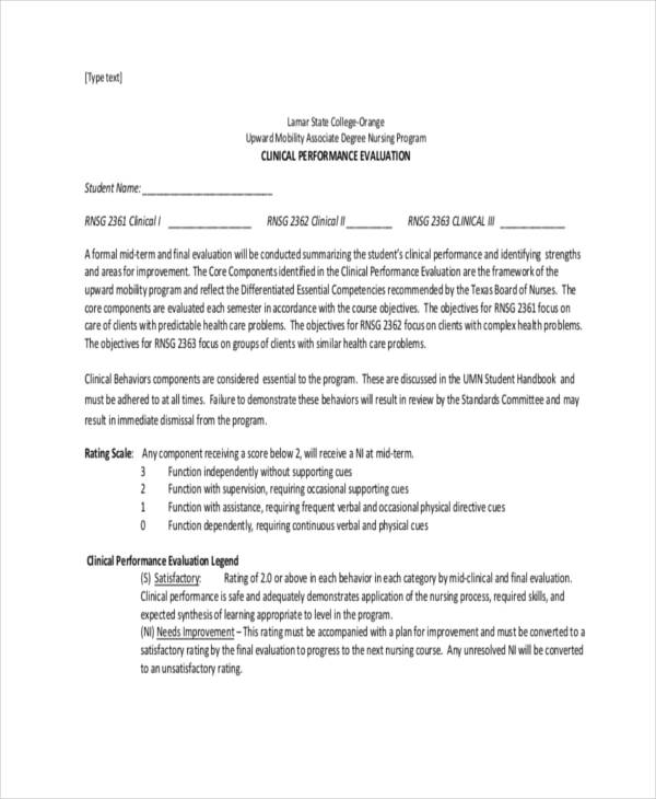 student self evaluation form nurse self evaluation sample self 21 sample self evaluation forms